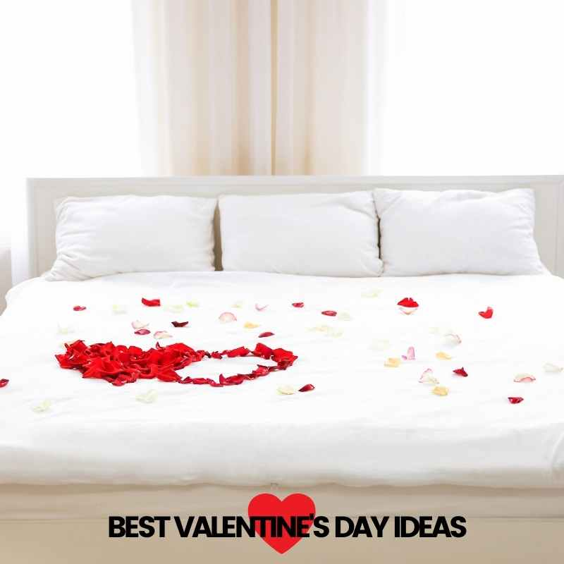 rose petals in bed valentines day ideas