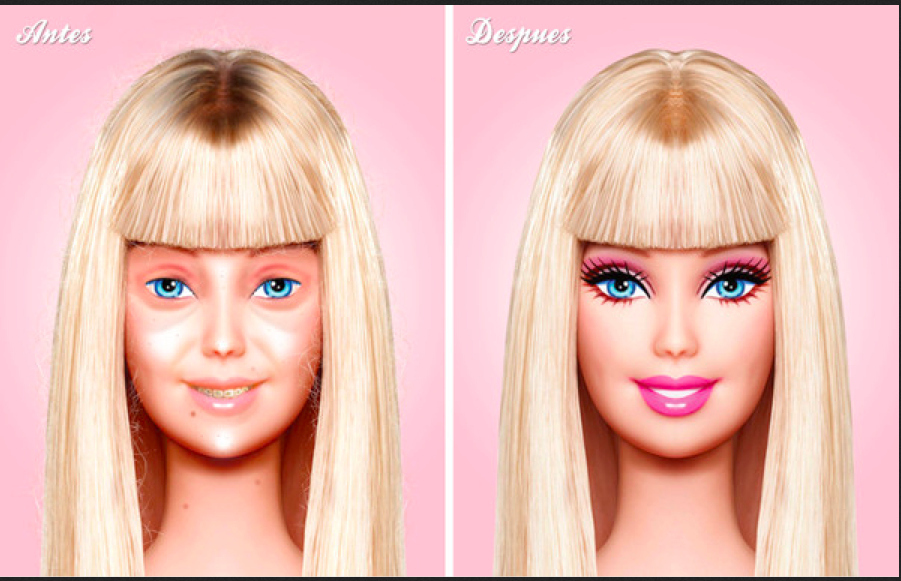 photo of 2 barbie dolls. 1 without makeup 1 barbie with make-up