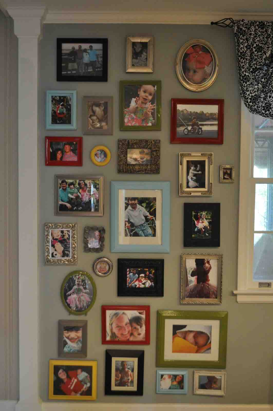 Colorful gallery wall photos frames