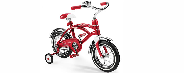 Radio Flyer red Toddler Bicycle features training wheels and a bell