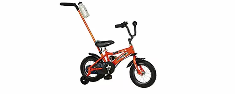 Schwinn Toddler Bicycle with handle and training wheels and water jug