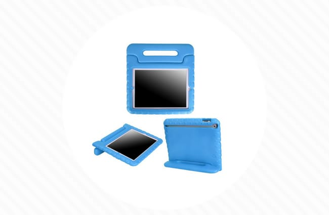 Blue ipad case for kids with handle shock proof