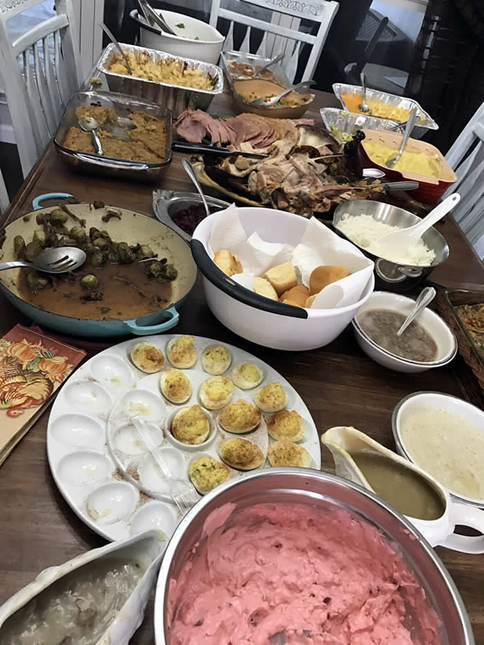 Thanksgiving day food on the table