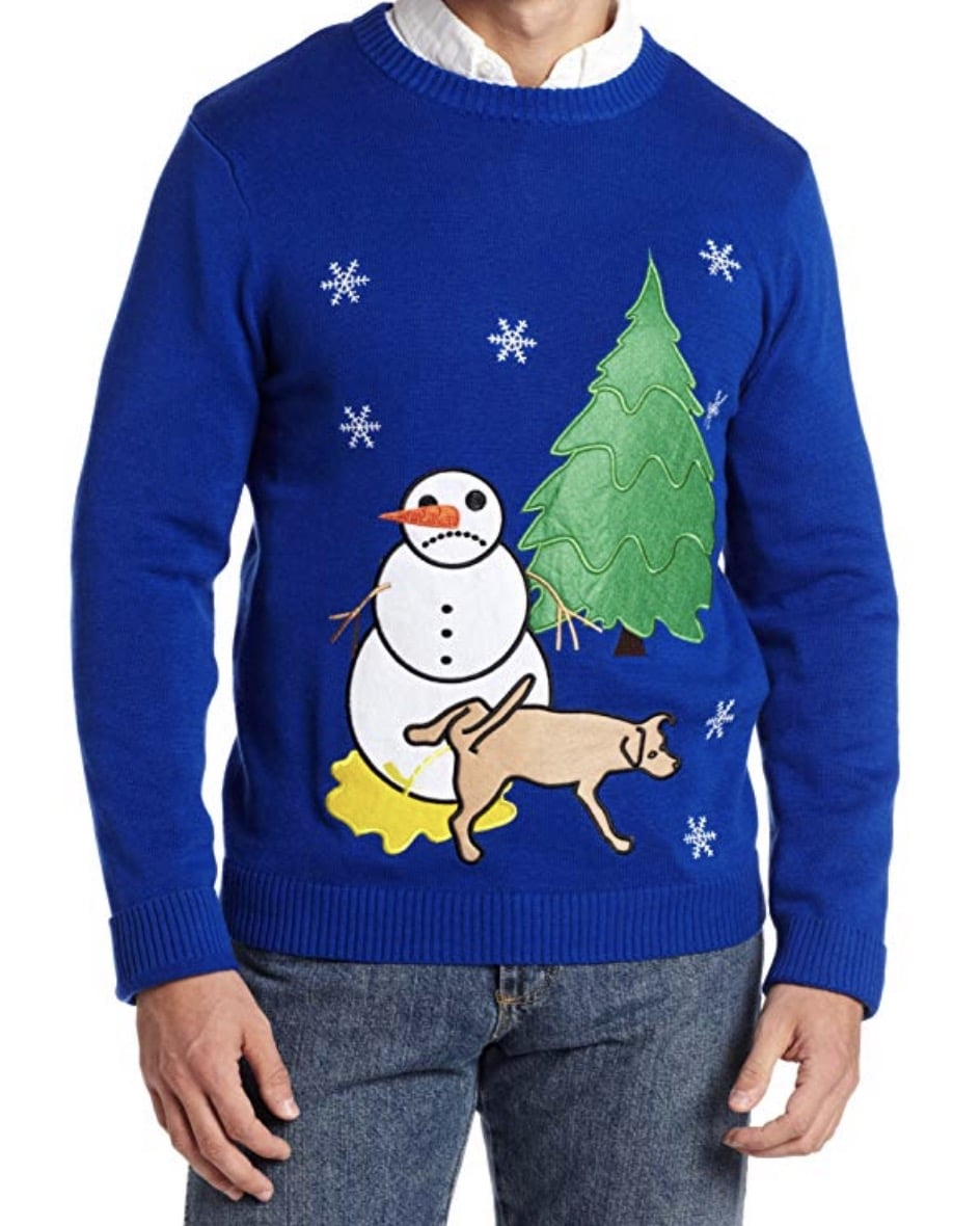 dog peeing funny christmas sweaters