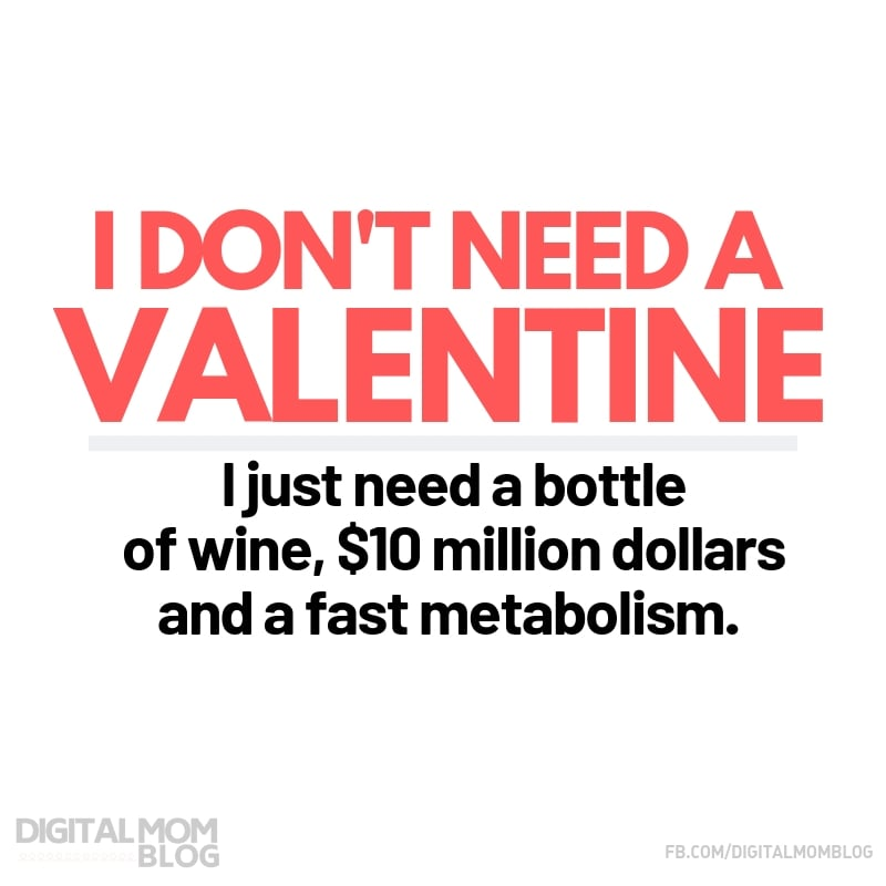 I don't need a valentine - I just need a bottle of wine, $10 million dollars and a fast metabolism. - Digital Mom Blog Funny Valentine Meme