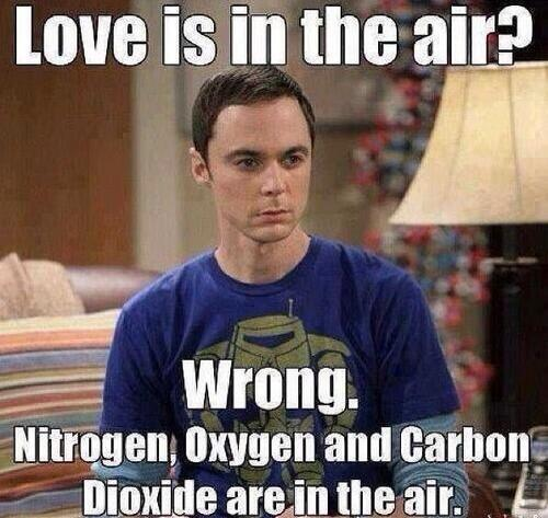 valentine meme love is in the air wrong big bang theory