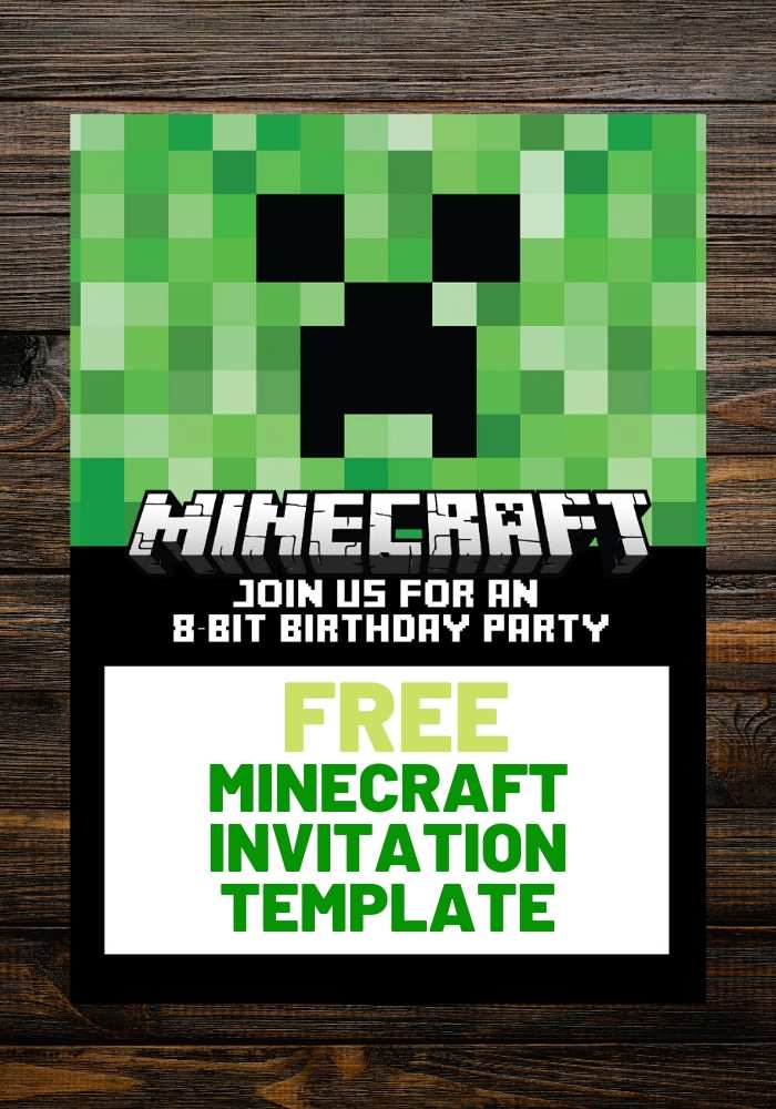 free minecraft invitation birthday template