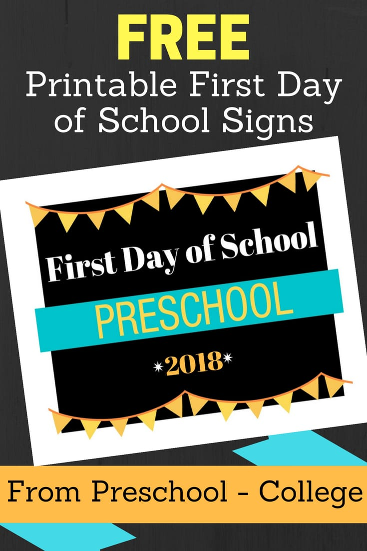 2018 First Day of School Sign Printable