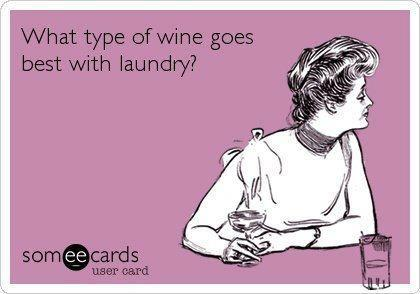 funny wine meme - what type of wine goes best with laundry