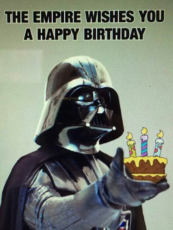 darth vadar holding a birthday cake - star wars meme