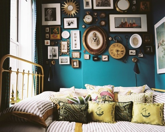 Amazing Blue Accent Wall Featuring Photo Frame