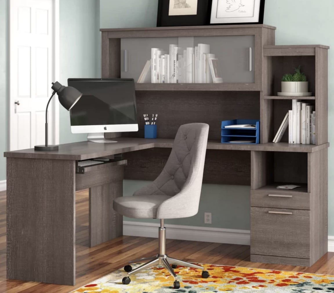 l shaped desk with hutch gray