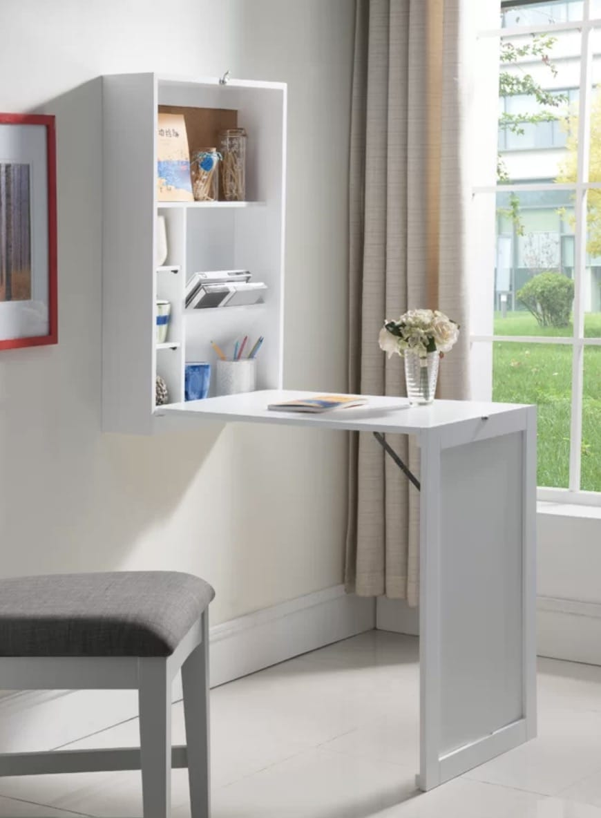 wall mounted desk with storage and legs