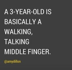 3 year old is a walking middle finger