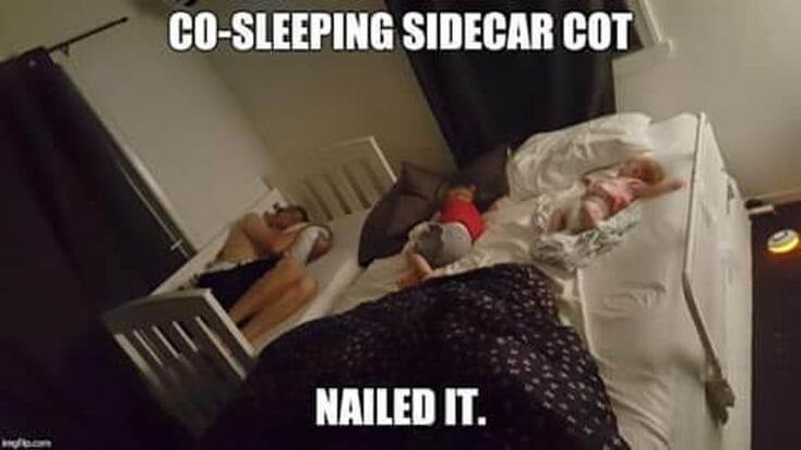 co-sleeping sidecar cot - parent sleeping next to toddler in a cot - cosleeping meme