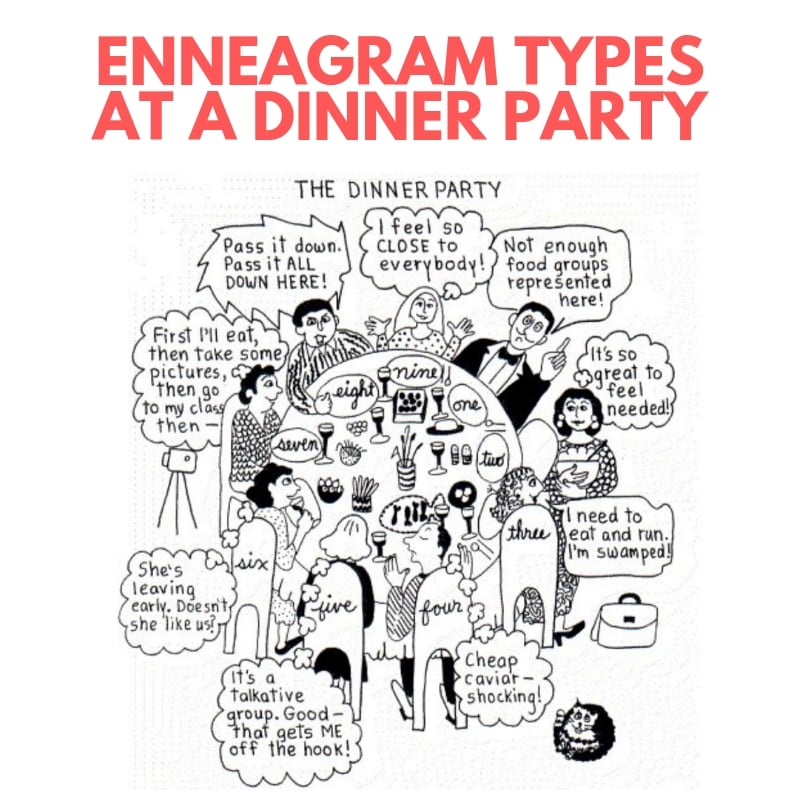 enneagram types dinner party meme