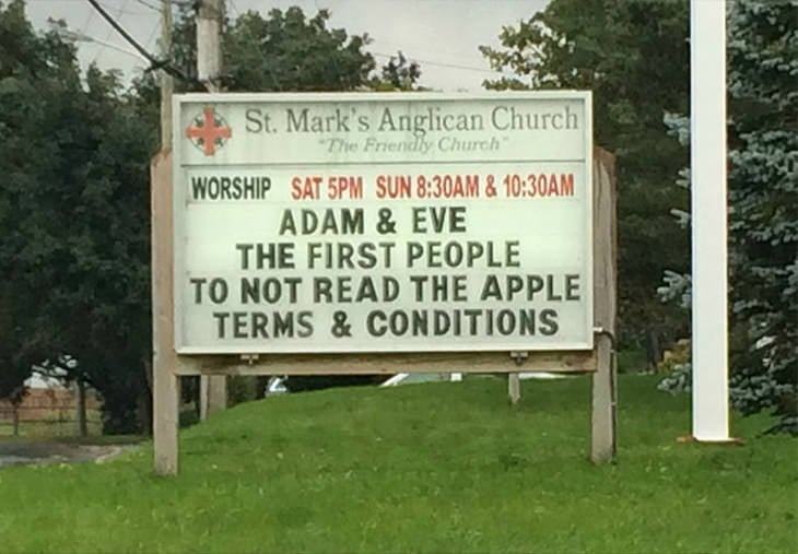 Adam and Eve - the first people to not read the Apple Terms and Conditions.
