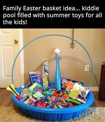 make a giant easter basket made from a kiddie pool filled with summer toys for Easter morning