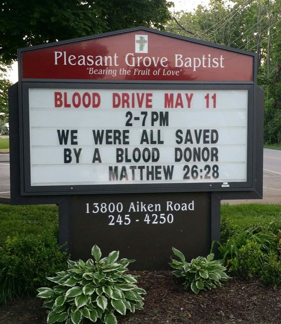 saved by a blood donor church sign sayings
