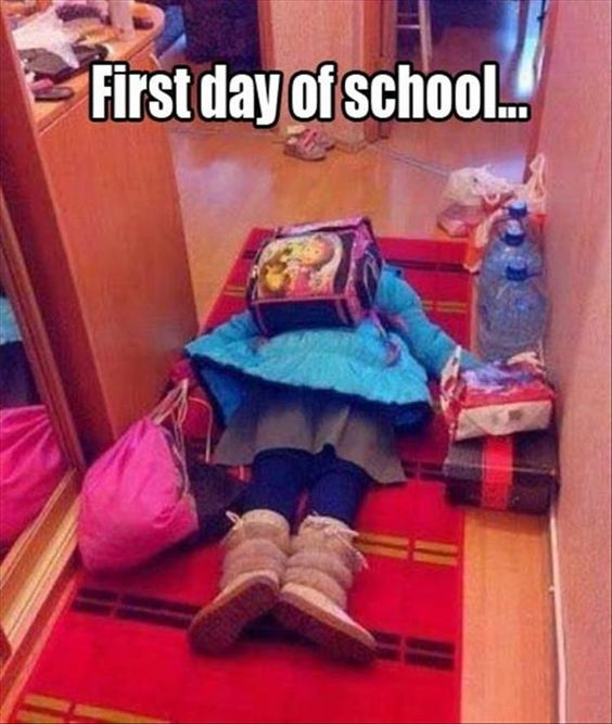 funny first day of school photo