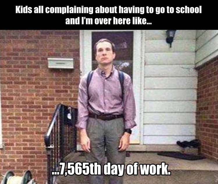 kids all complaining about having to go to school