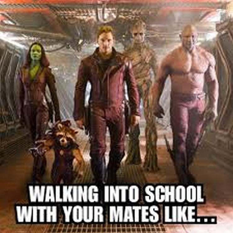 school meme walking into school with your mates like