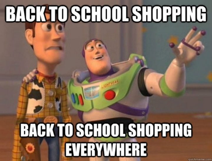 back to school shopping woody buzz toy story meme