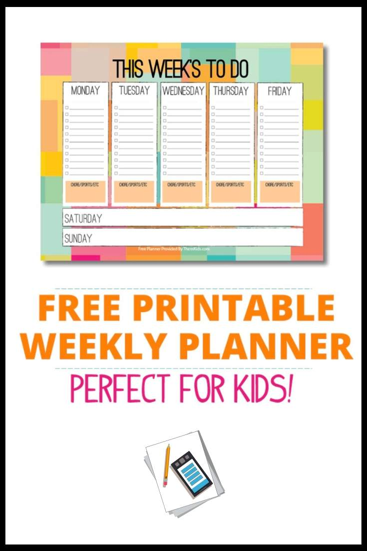 free weekly planner for kids download