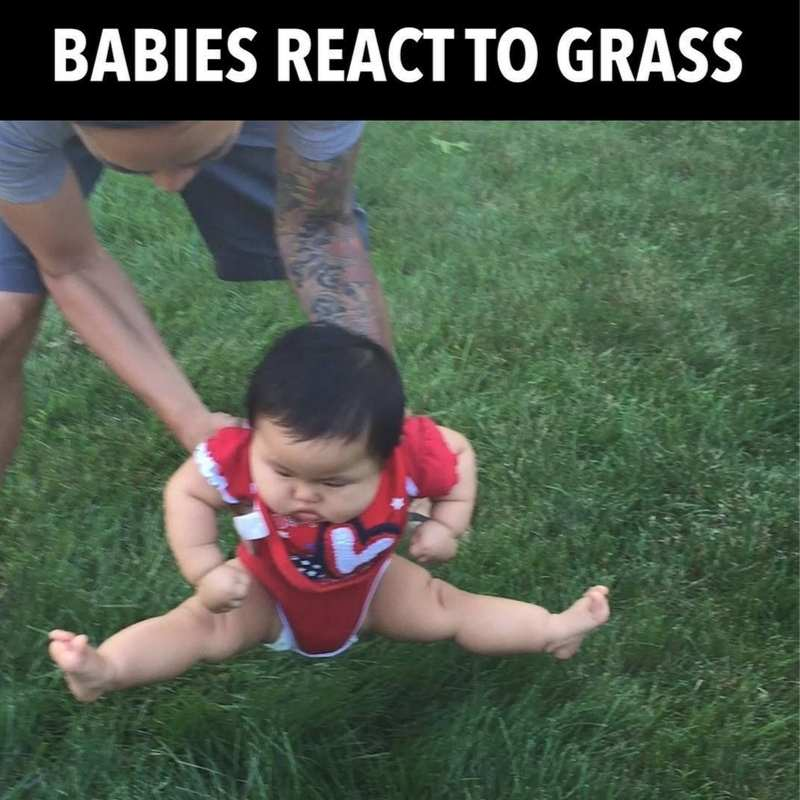 baby reacts to grass