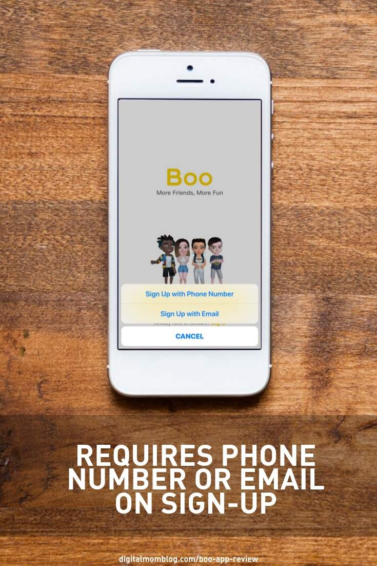 The boo app requires that you sign up for an account