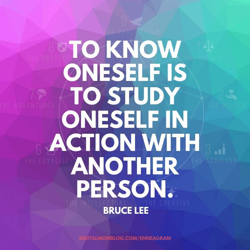 to know oneself is to study oneself in action with another person. Bruce Lee - Enneagram Quote #enneagram