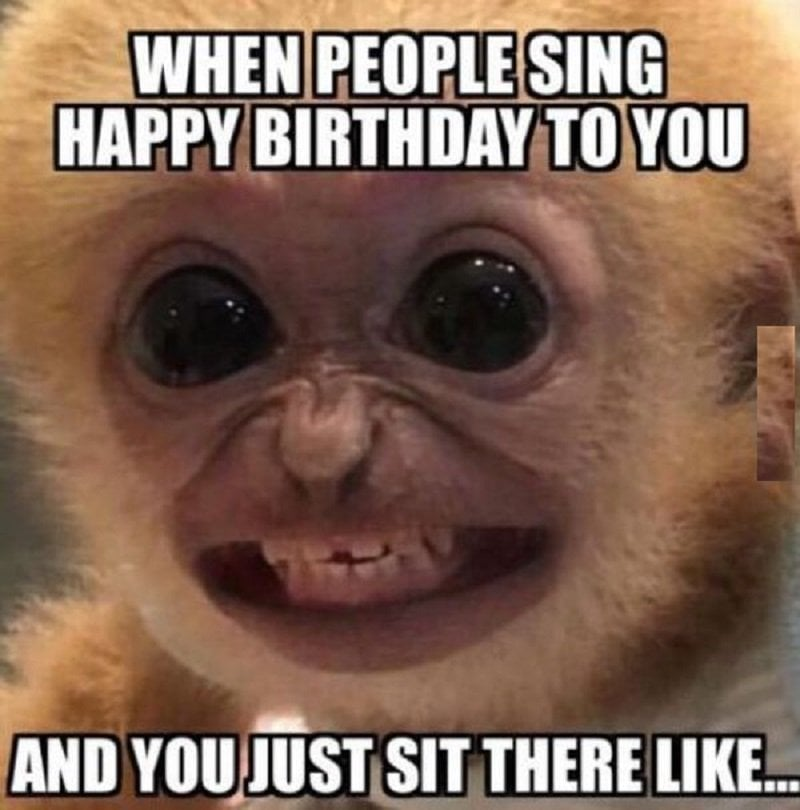 When people sing happy birthday to you and you just sit there like - happy birthday meme