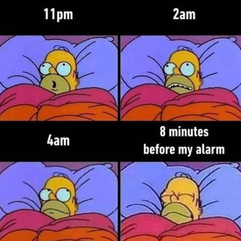 Homer Simpson gives a visual example of what is life like when you cant sleep meme