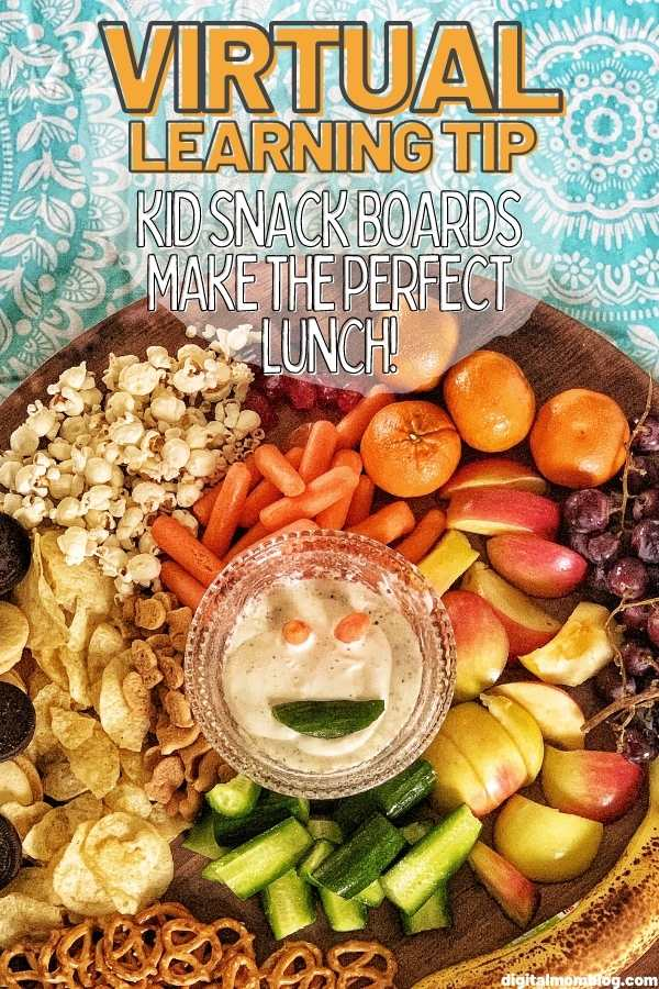 kids snack board for virtual learning