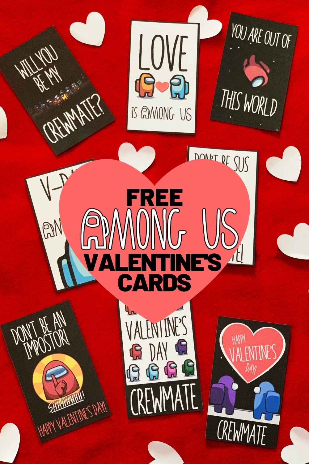 among us valentines cards printable free