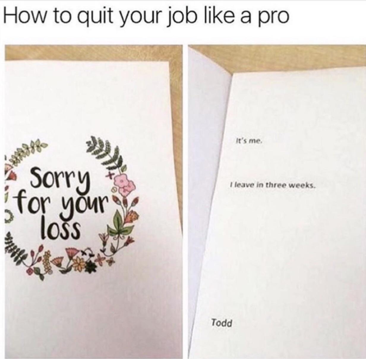 how to quit your job meme