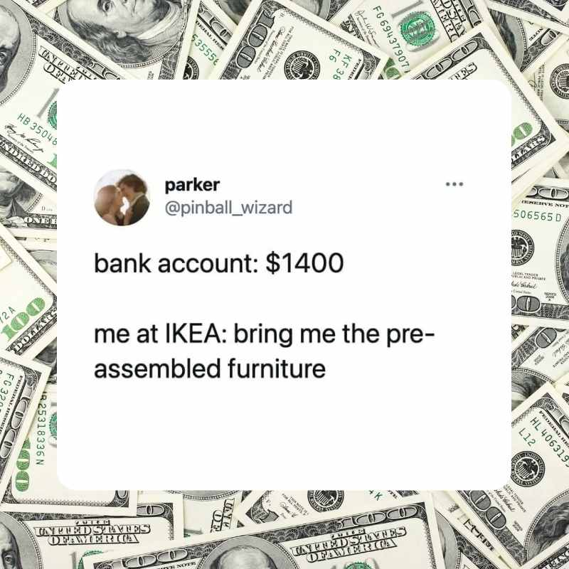 ikea meme - assembled furniture with stimulus check