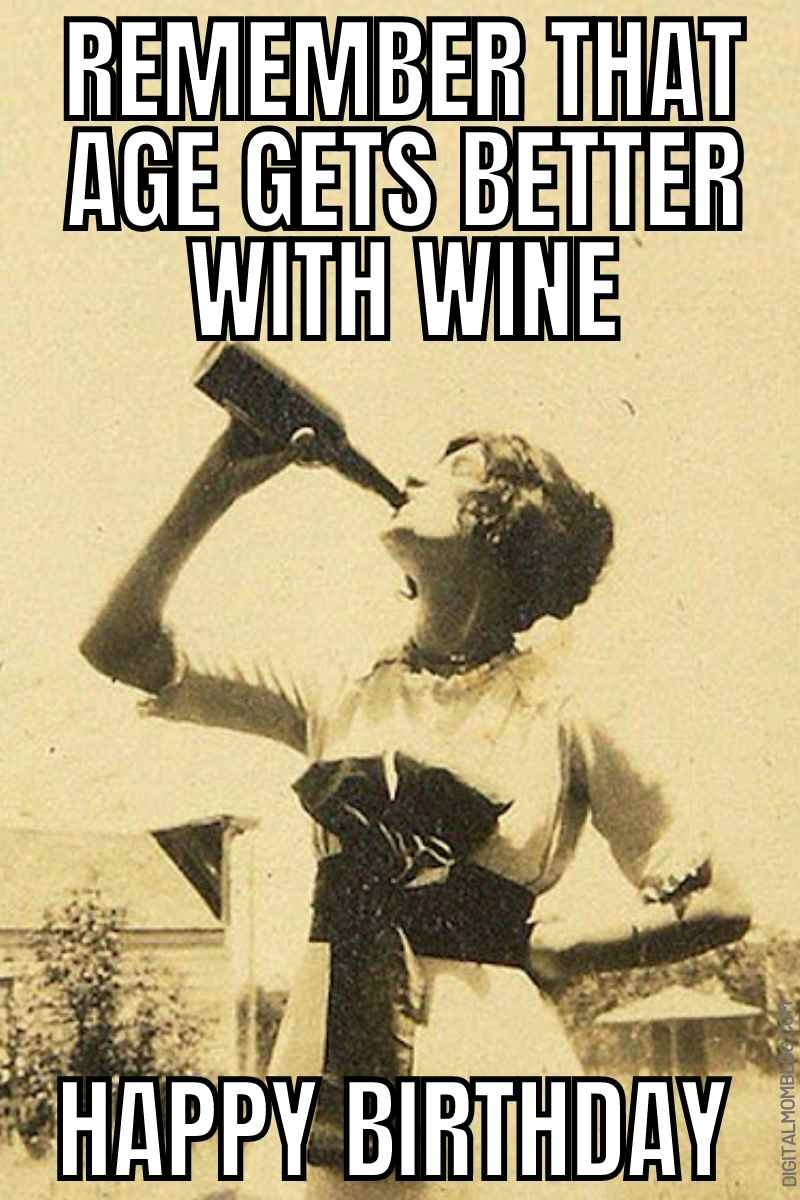 funny wine birthday image for her