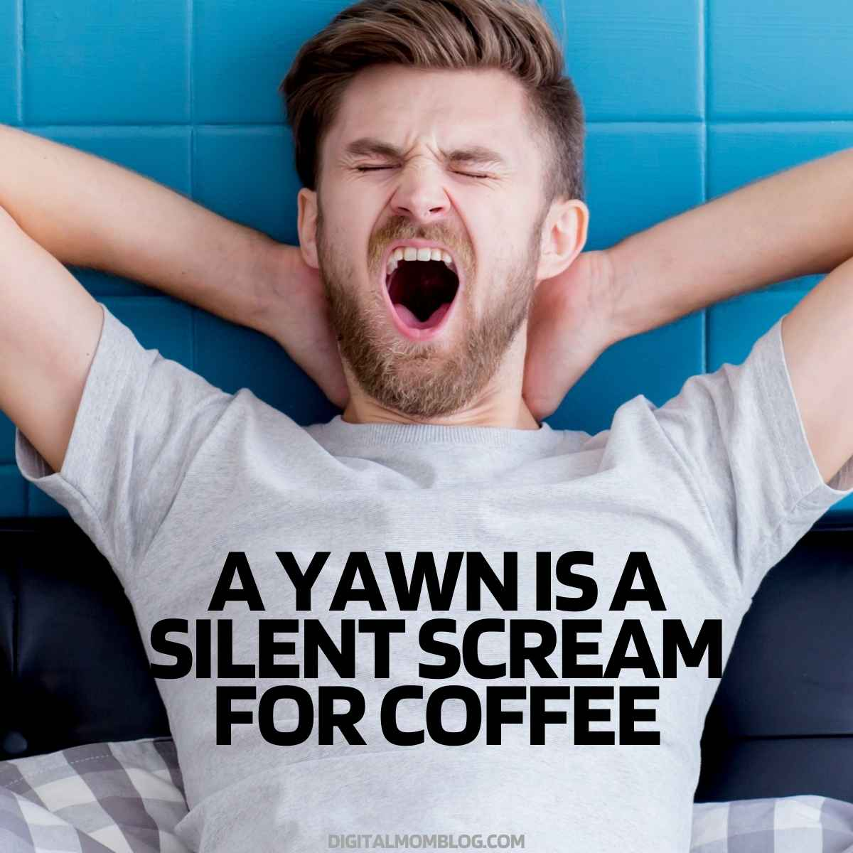 a yawn is a silent scream for coffee meme funny