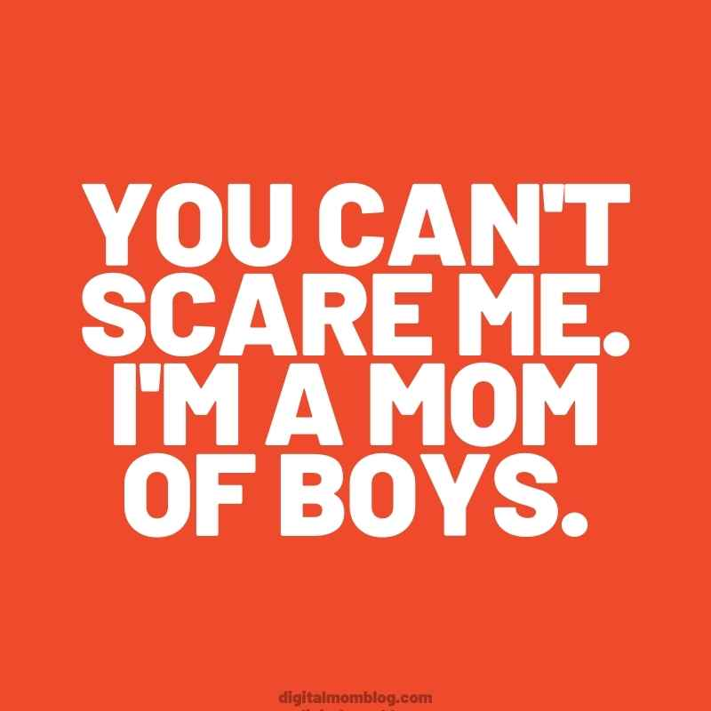 you can scare me im a mom of boys meme