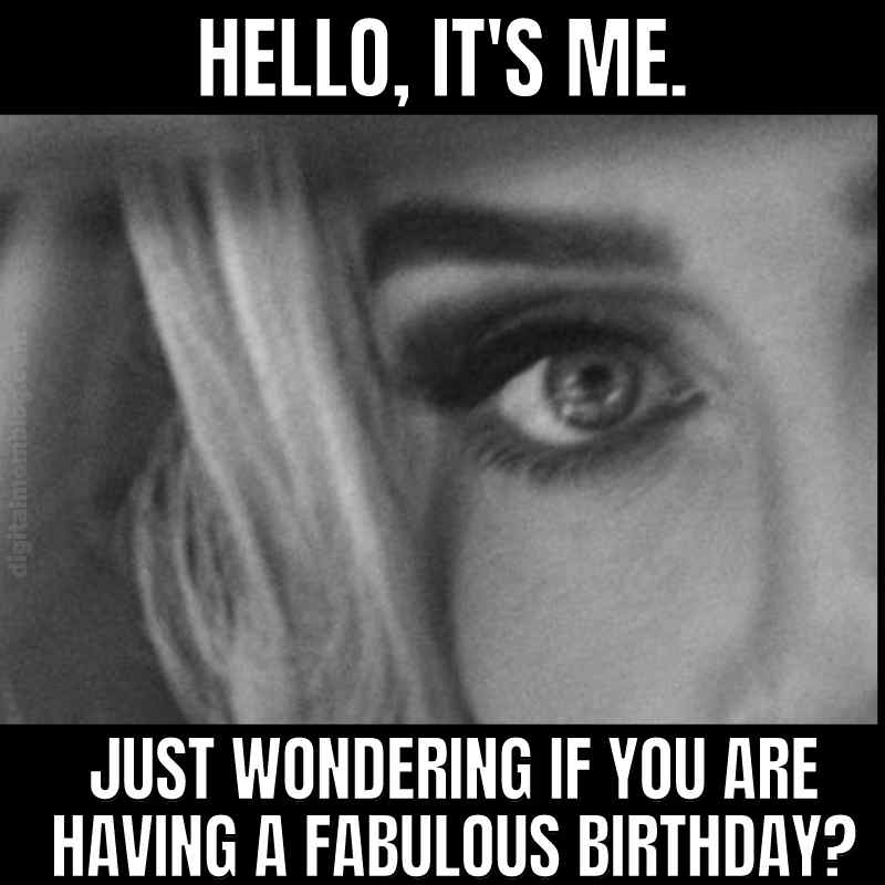 adele birthday meme - hello its me just wondering if you are having a fabulous birthday